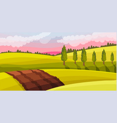 Brown soil and pasture land as green landscape at vector