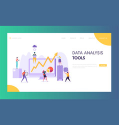 Business data analysis software landing page vector