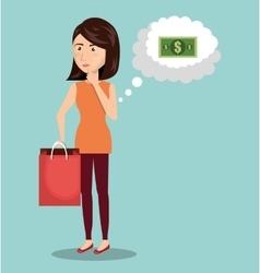 Cartoon woman money e-commerce isolated design vector