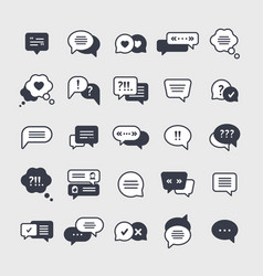 chat symbols black glyph icons set vector image
