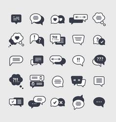 chat symbols black glyph icons set vector image