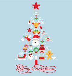 Christmas tree with icons decorate vector image