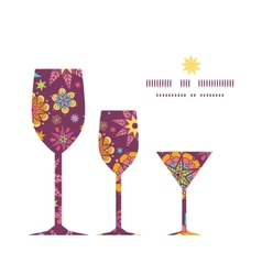 colorful stars three wine glasses silhouettes vector image