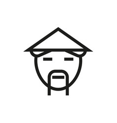 countryman in asian hat icon on white background vector image