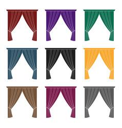 Curtains with drapery on cornicecurtains vector