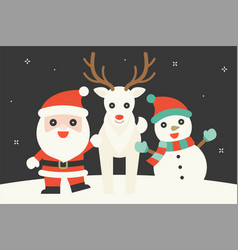cute character of santa claus snow reindeer and s vector image
