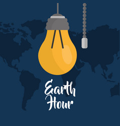 earth hour bulb energy ecology map background vector image