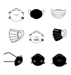 face mask set set various mask medical vector image
