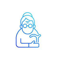 Female pensioner gradient linear icon vector