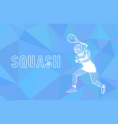 Female squash player polygonal geometric vector