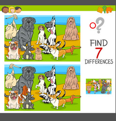 Find differences game with dog characters vector