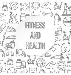 Fitness and health flat pattern vector