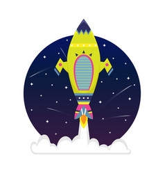 flat bright cartoon spaceship in a starry sky vector image