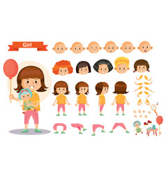 Girl kid playing games and toys cartoon vector