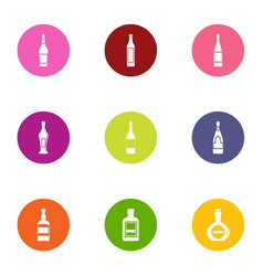 glass bottle icons set flat style vector image