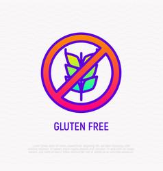 gluten free sign no grain thin line icon vector image