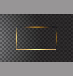 Golden frame with lights effects shining vector
