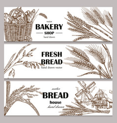 Hand drawn bread horizontal banners banner set vector
