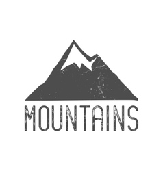 Hand drawn mountain badge Wilderness old style vector image vector image