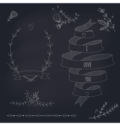 hand drawn set wedding design elements vector image