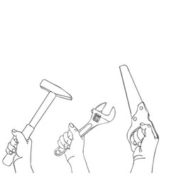 Hands with spanner saw and hammer vector
