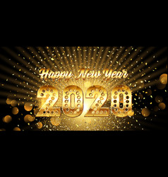 happy new year banner with gold metallic text vector image