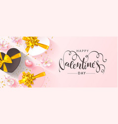 happy valentine s day banner beautiful blue vector image