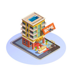 Hotel booking button isometric tablet icon vector