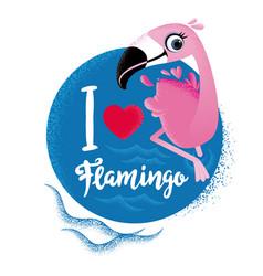 i love flamingo cute card with flamingos vector image