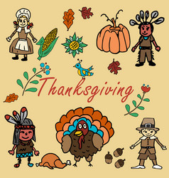 In the style of childrens drawing thanksgiving vector