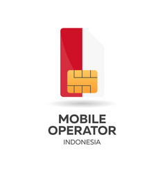 Indonesia mobile operator sim card with flag vector