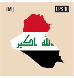 Iraq map border with flag eps10 vector