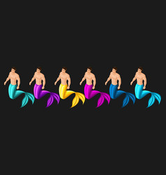 isometric male mermaid set of multi-colored ch vector image