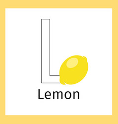 lemon and letter l coloring page vector image