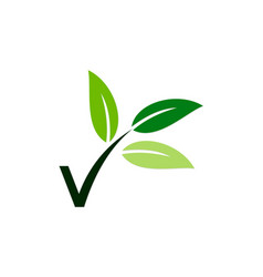 Letter v vegetarian leaf logo vector