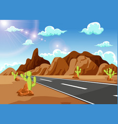 Long straight road leading to the mountains vector