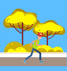 man jogger running on pathway city park character vector image