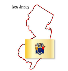 new jersey state map and flag vector image