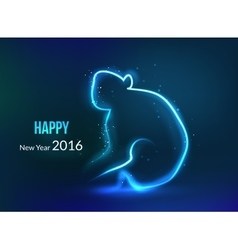 new year 2016 background year monkey glowing vector image