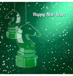 New Year Card with glossy horses on green back vector
