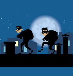 Night thieves on roof vector