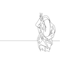 One single line drawing young cute asian vector