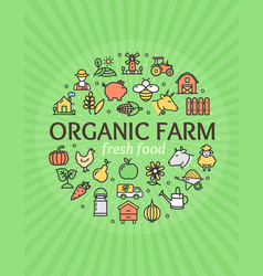 organic farm signs round design template thin line vector image