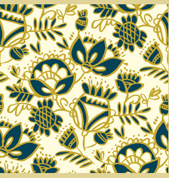 peasant decorative flower seamless pattern vector image