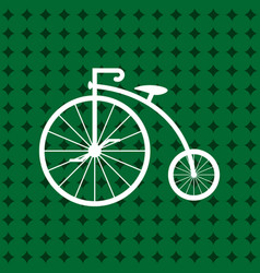 Penny-farthing icon white isolated on green vector