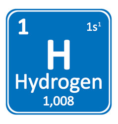 Periodic table element hydrogen icon vector