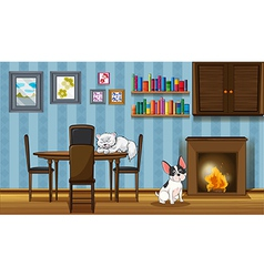 Pets inside a house near the fireplace vector