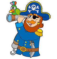 Pirate with spyglass and parrot vector