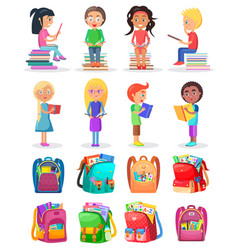 pupil reading book school bag study sign vector image