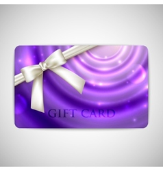 Purple card with white bow and ribbon vector